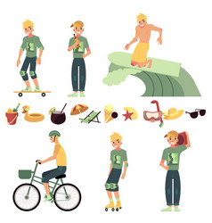 young man in various summer active recreations set vector image