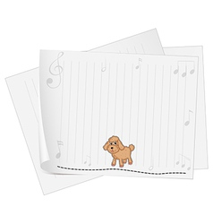A blank paper with a dog vector image vector image