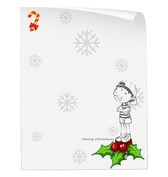 A christmas card template with a young boy above vector image vector image