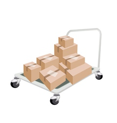 Hand Truck Loading Stack of Shipping Boxes vector image vector image