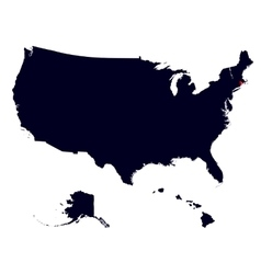 Rhode Island State in the United States map vector image