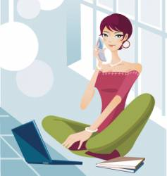technology lifestyle girl vector image