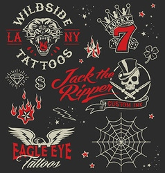 Vintage tattoo graphic elements set vector image vector image