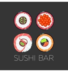 Black sushi bar food logo template vector image