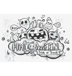 Cute hand-drawn Halloween doodles vector image