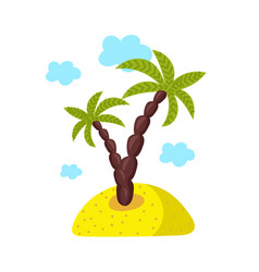 Island with palm isolated icon vector