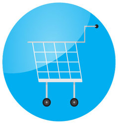 Trolley icon round glossy app vector image