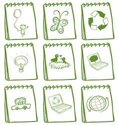 A set of green notebooks vector image vector image