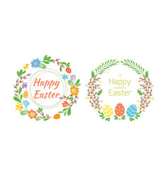 happy easter hand drawn badge with hand lettering vector image