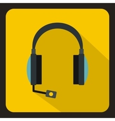 Headphones with microphone icon flat style vector image