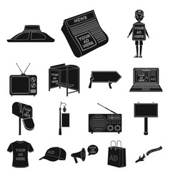 production of advertising black icons in set vector image vector image
