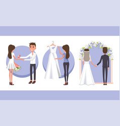 proposal and wedding day vector image