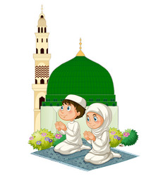 two muslim kids praying at mosque vector image vector image