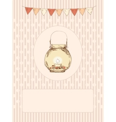Glass jar with a candle and flags vector image vector image