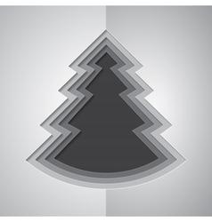 Grey paper cutout christmas tree vector image vector image