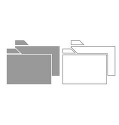 two folder grey set icon vector image vector image