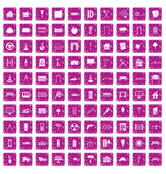 100 architecture icons set grunge pink vector