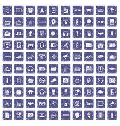 100 audio icons set grunge sapphire vector image