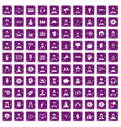100 headhunter icons set grunge purple vector