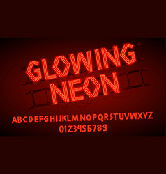 80 s red neon retro font futuristic script vector image