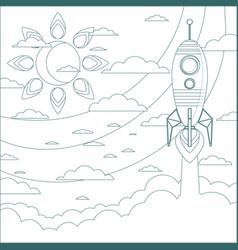 a rocket ship flies in the sky vector image