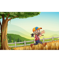 A woodman walking at the hill happily vector