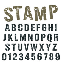 Alphabet font stamp army design vector