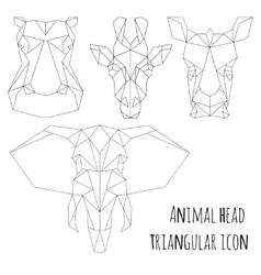 Animal head triangular icon-geometric line design vector image
