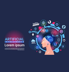 Artificial intelligence female head cyber brain vector