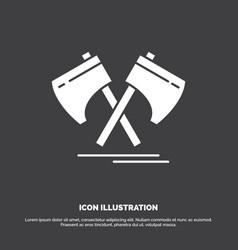 axe hatchet tool cutter viking icon glyph symbol vector image