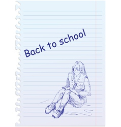 back to school placard with hand-drawn girl vector image