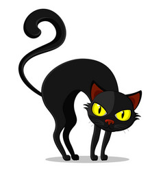 Black cat with a curved back on a white background vector