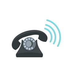 Black retro phone ringing icon flat style vector