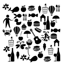 black silhouette set elements daily life icon vector image