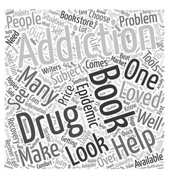 Books on drug addiction word cloud concept vector