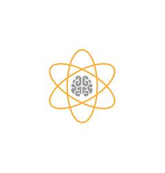 brain inside atom icon intellect phsychology vector image