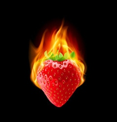 Burning strawberry vector