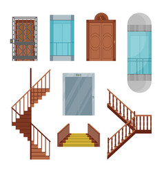 Cartoon elevators and stairs set vector