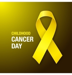 Childhood cancer day awareness yellow ribbon vector