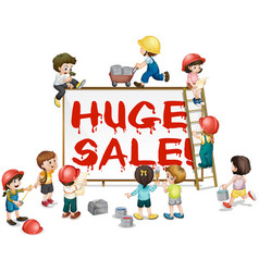 Children painting word huge sale on board vector