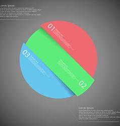 Circle motif askew divided to three color parts on vector image vector image