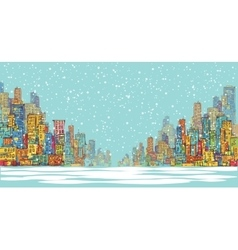 City panorama winter snow landscape in daylight vector image