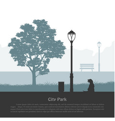 City park silhouette industrial outdoor landscape vector