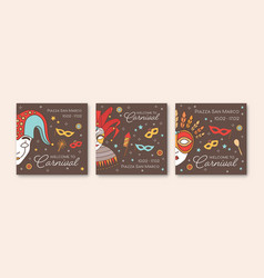collection square card or party invitation vector image