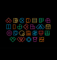 Colored letters from geometric shapes decorative vector