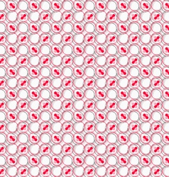 Colored red and pink with hairy circles on white vector
