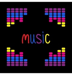 Colurful digital equalizer frame Word Music Flat vector