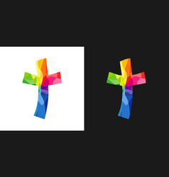 cross brush style colorful vector image