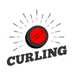 curling sport stone ball logo icon sun burtst vector image