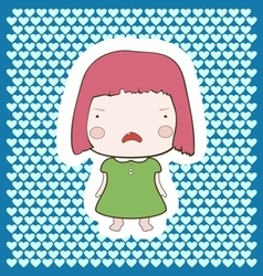 Cute candy pink hair cartoon cry baby girl vector